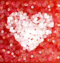 Valentines day love heart shape bokeh card vector