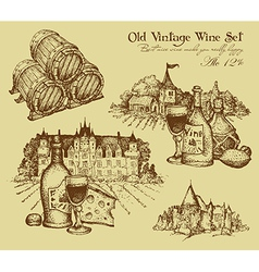 Vintage wine set vector