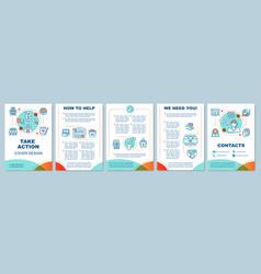 Volunteering activity brochure template layout vector