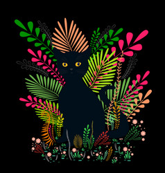 wild black cat with amber eyes sit in a colorful vector image