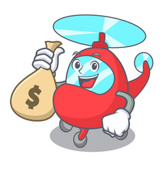 With money bag helicopter character cartoon style vector