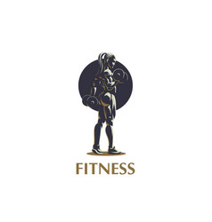 woman fitness emblem vector image