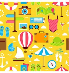 Yellow Flat Summer Travel Voyage Seamless Pattern vector