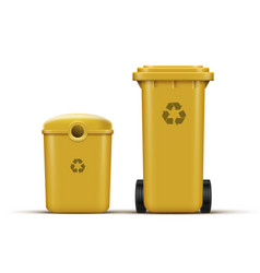 Yellow recycle bins vector