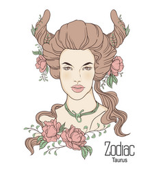 Zodiac of taurus as girl with vector