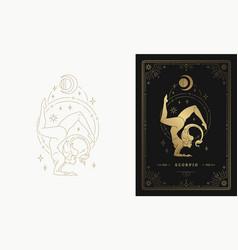 Zodiac scorpio girl character horoscope sign line vector