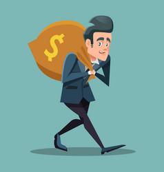 businessman cartoon with money bag vector image vector image