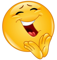 clapping cheerful emoticon vector image