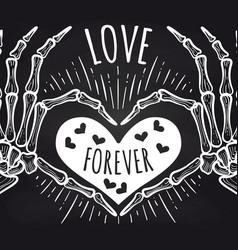 love chalkboard poster with skeleton hands vector image vector image