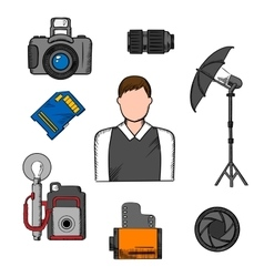 Photographer equipment and items icons vector image
