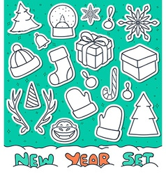 Set 20 Christmas doodle sketch objects for vector image