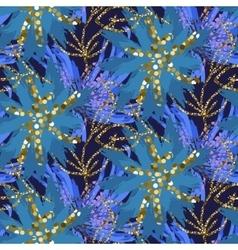 Abstract indigo blue batik flower pattern vector image