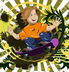 abstract of a boy on a skateboard vector image vector image
