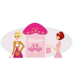 Fashion girls shopping in shoe shop vector image