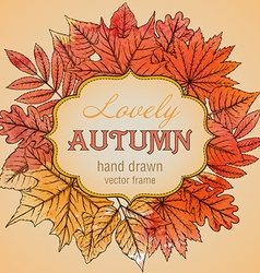 template with highly detailed hand drawn leaves vector image vector image