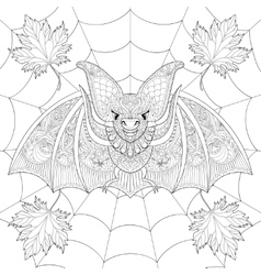 Zentangle stylized Bat with fall autumn leaves on vector image vector image