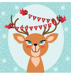 Birds and Christmas reindeer vector image vector image
