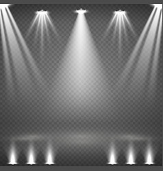 blank scene with glowing white spotlights vector image vector image