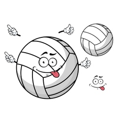 Cartooned volleyball ball with cute face and hands vector image vector image