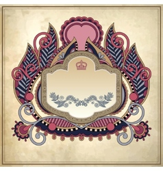 floral frame on grunge paper background page vector image