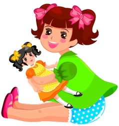 girl and doll vector image vector image