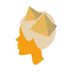 silhouette of female head with piramids vector image