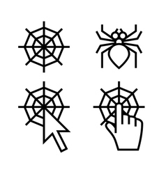Spider web networking icons vector image vector image