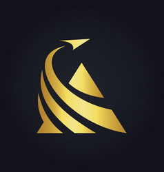 triangle business finance arrow gold logo vector image vector image