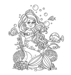 beautiful little mermaid girl sits on a rock and vector image vector image
