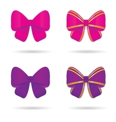 bow in pink and violet vector image vector image