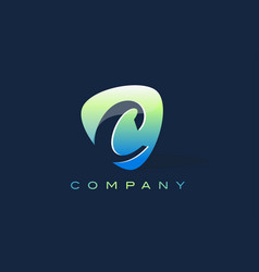 c letter logo oval shape modern design vector image vector image