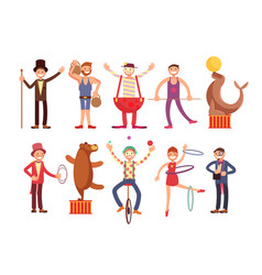 circus artists cartoon characters set vector image