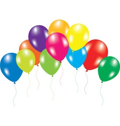 colorful balloons on white background vector image vector image