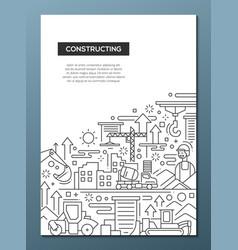 constructing - line design brochure poster vector image vector image