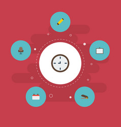 Flat icons date watch whiteboard and other vector