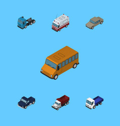 Isometric automobile set of freight truck first vector