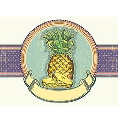 Pineapple vintage label on old paper backgro vector image