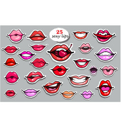 25 red lips sticker collection vector image
