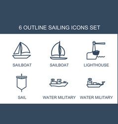6 sailing icons vector image