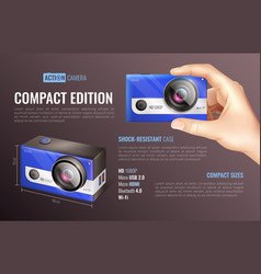 Action camera compact edition poster vector
