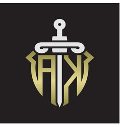 Ak logo monogram with sword and shield vector