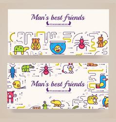 animal brochure cards thin line set cute vector image