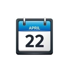 April 22 Calendar icon flat vector