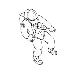 Astronaut floating in space drawing vector