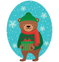 Bear with Christmas gifts vector