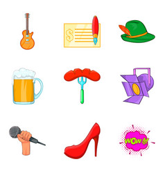 beer party icons set cartoon style vector image