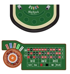 Blackjack and roulette tables vector image