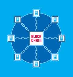 Blockchain network computer technology vector