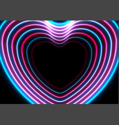 blue purple neon glowing laser hearts abstract vector image