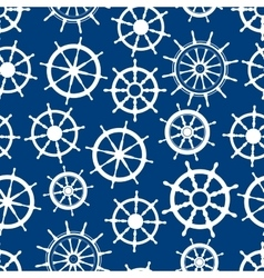 Blue seamless pattern with ship helms vector